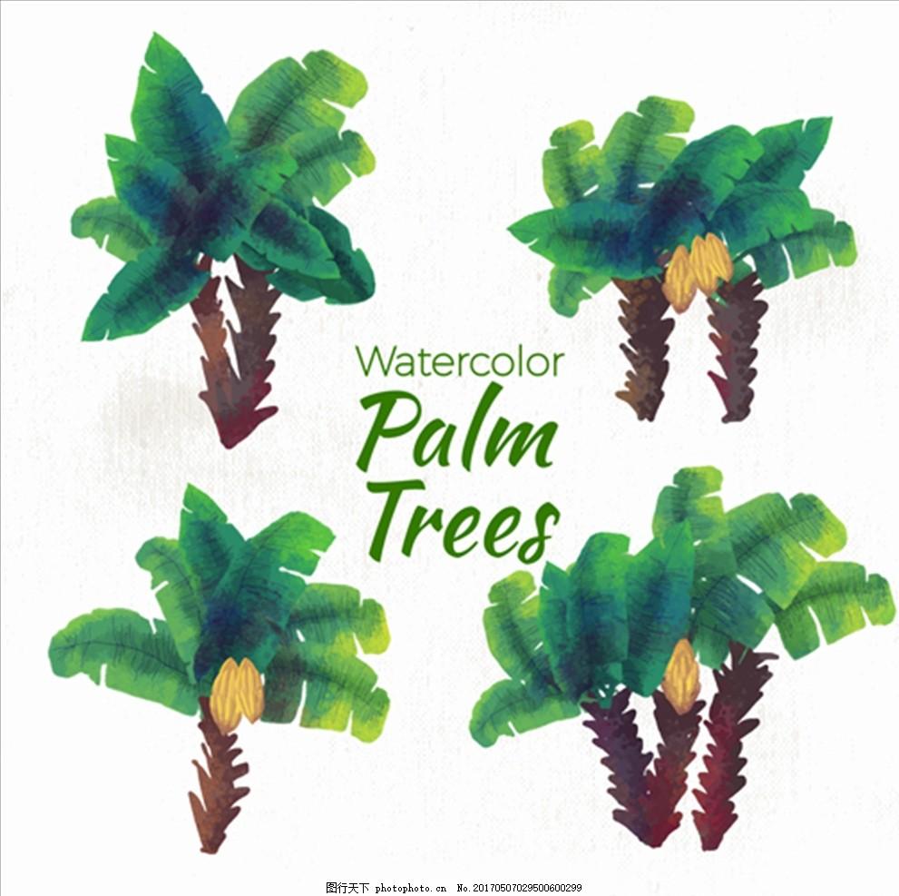 手绘水彩棕榈树