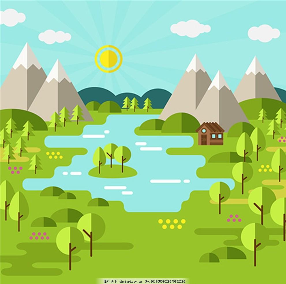 扁平化春季森林湖泊背景