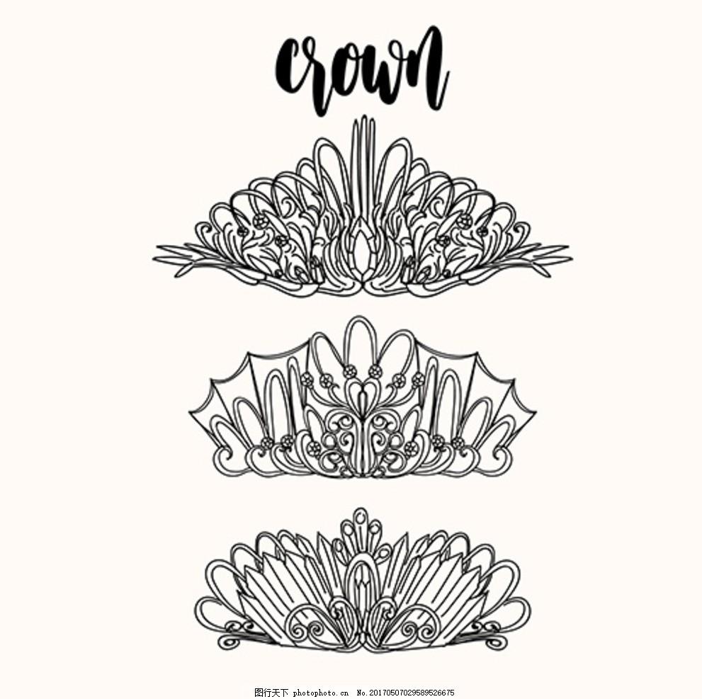 手绘线稿优雅的皇冠 皇冠图标 复古皇冠 精美皇冠 销冠皇冠 皇冠素材