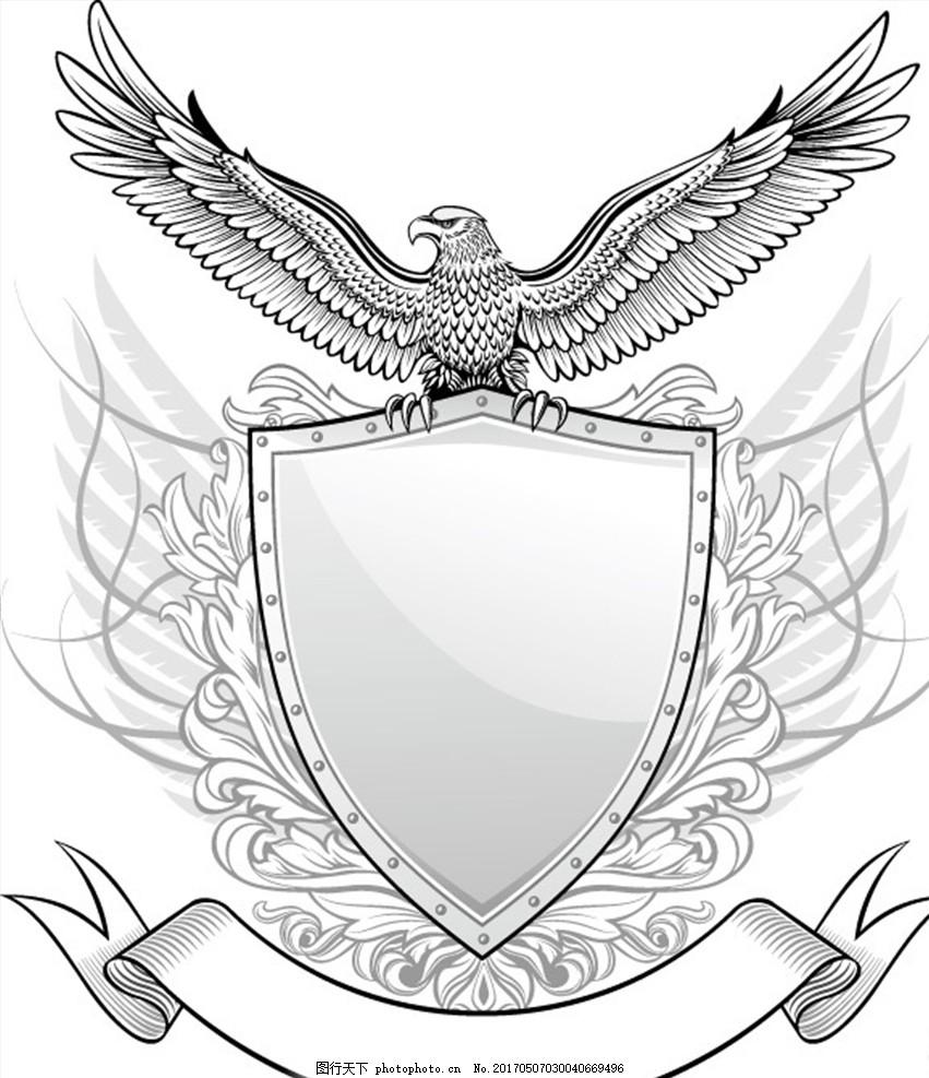 手绘线条 老鹰徽章 雄鹰 手绘雄鹰 雄鹰边框 雄鹰展翅 框架 底纹