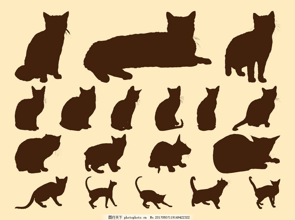 猫咪 可爱猫咪 动物 手绘动物 矢量素材 动物插画 小猫 猫咪剪影