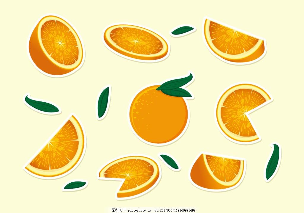 手绘橙子橘子