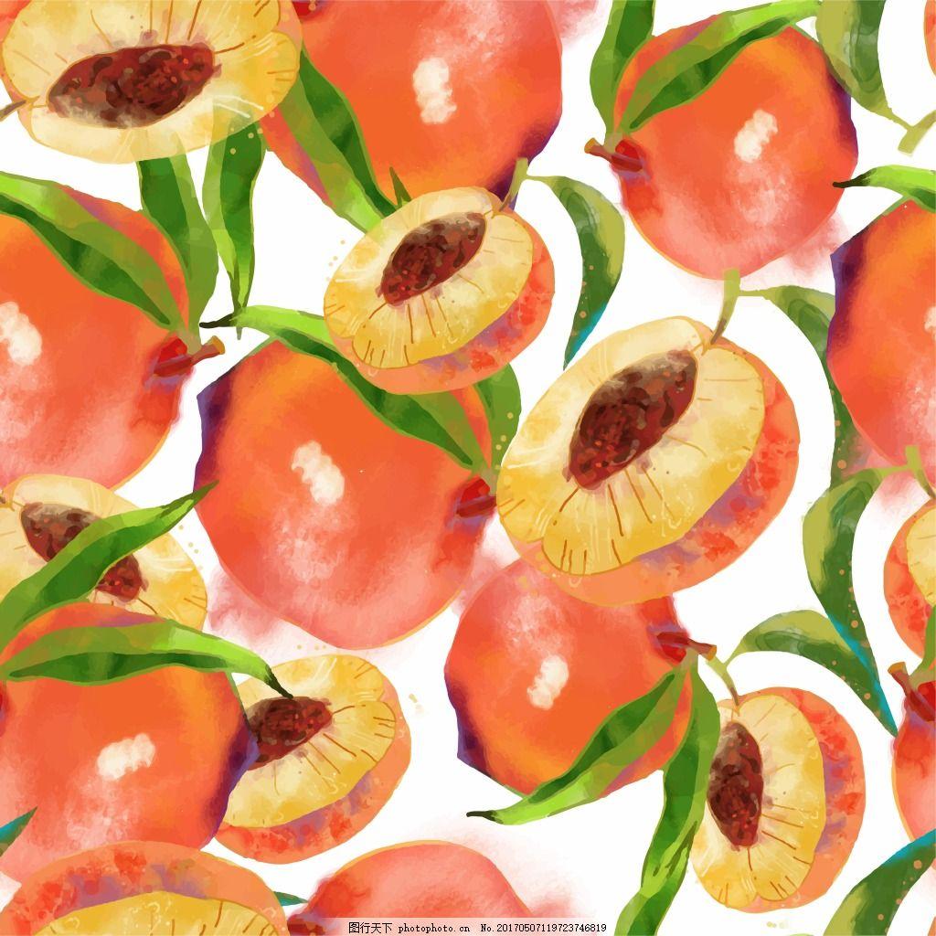 桃底纹 桃 桃子 手绘 水彩 底纹 水果 小清新 橙色