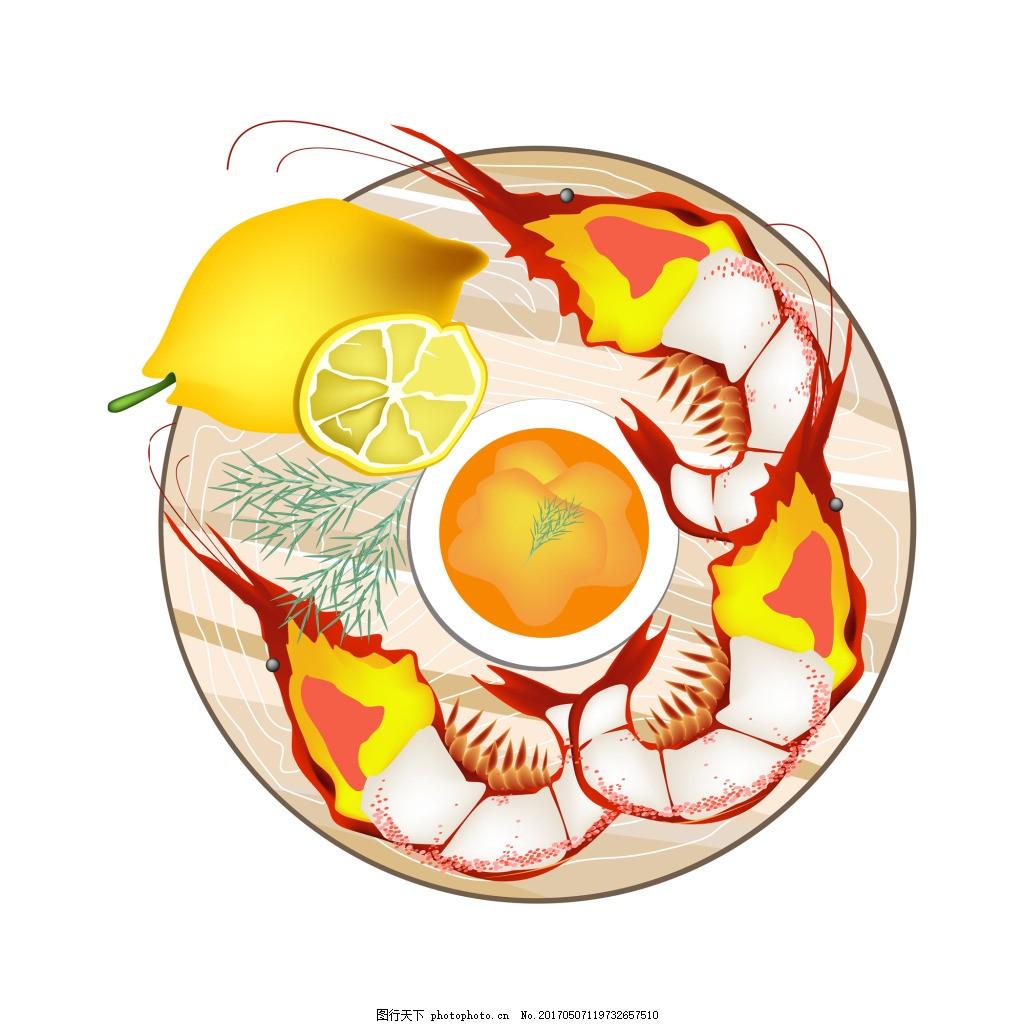 卡通手绘美味食物矢量素材 龙虾 中式 日式 鸡蛋 面条 动漫 菜肴