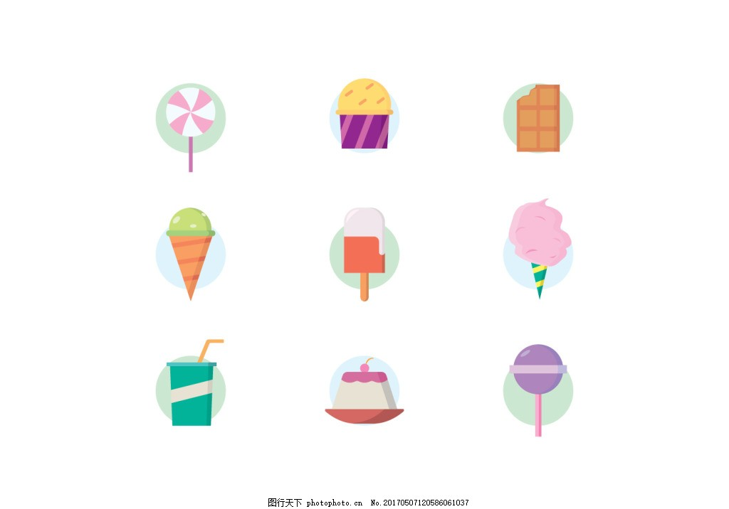 可爱手绘美食图标 手绘食物 棒棒糖 巧克力 雪糕 冰淇凌 棉花糖