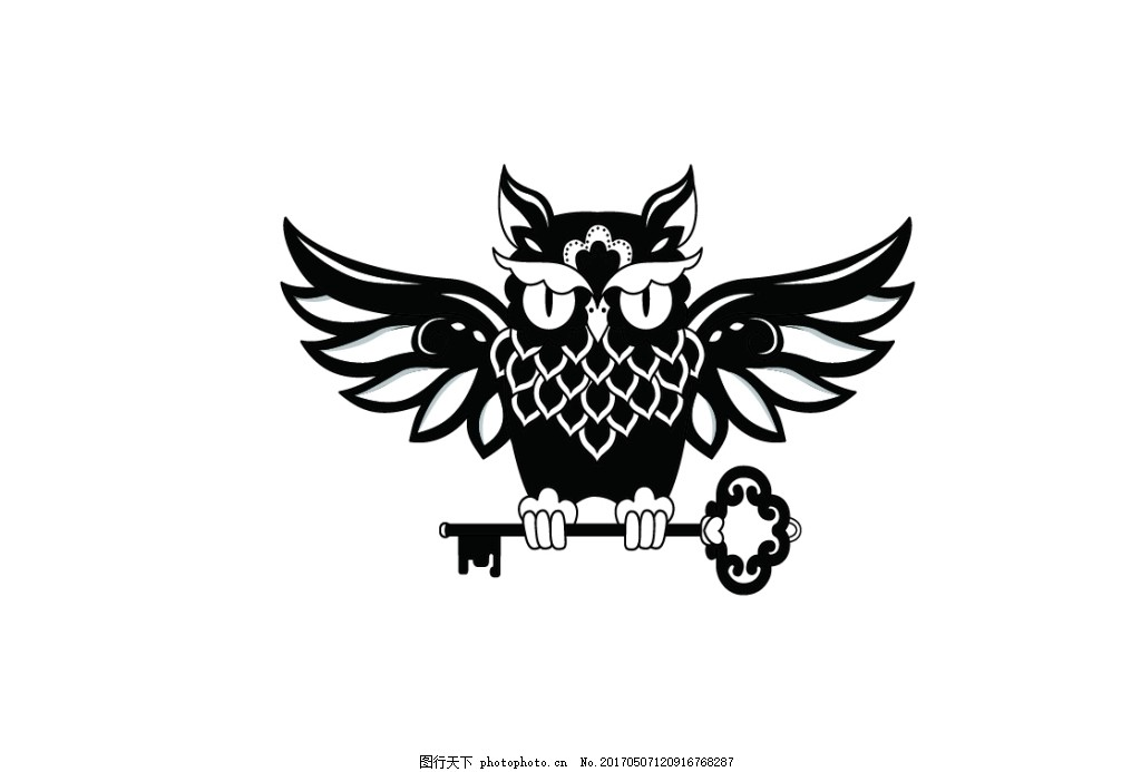 猫头鹰 动物纹 动物线条 动物图标 钥匙