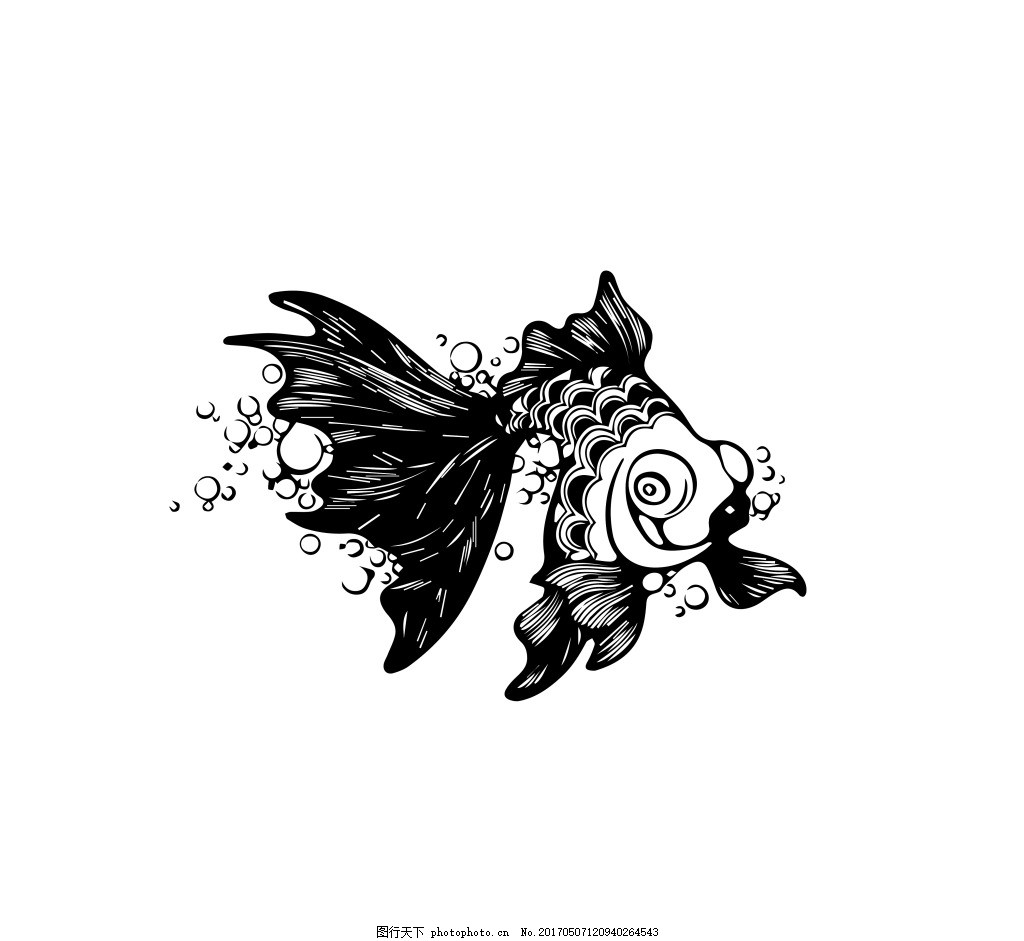 金鱼图案 气泡 手绘 卡通 形象 墨稿 线条 矢量