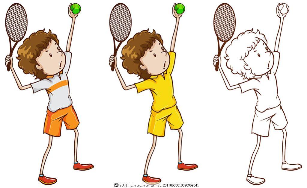 打网球的小孩子儿童网球运动插图