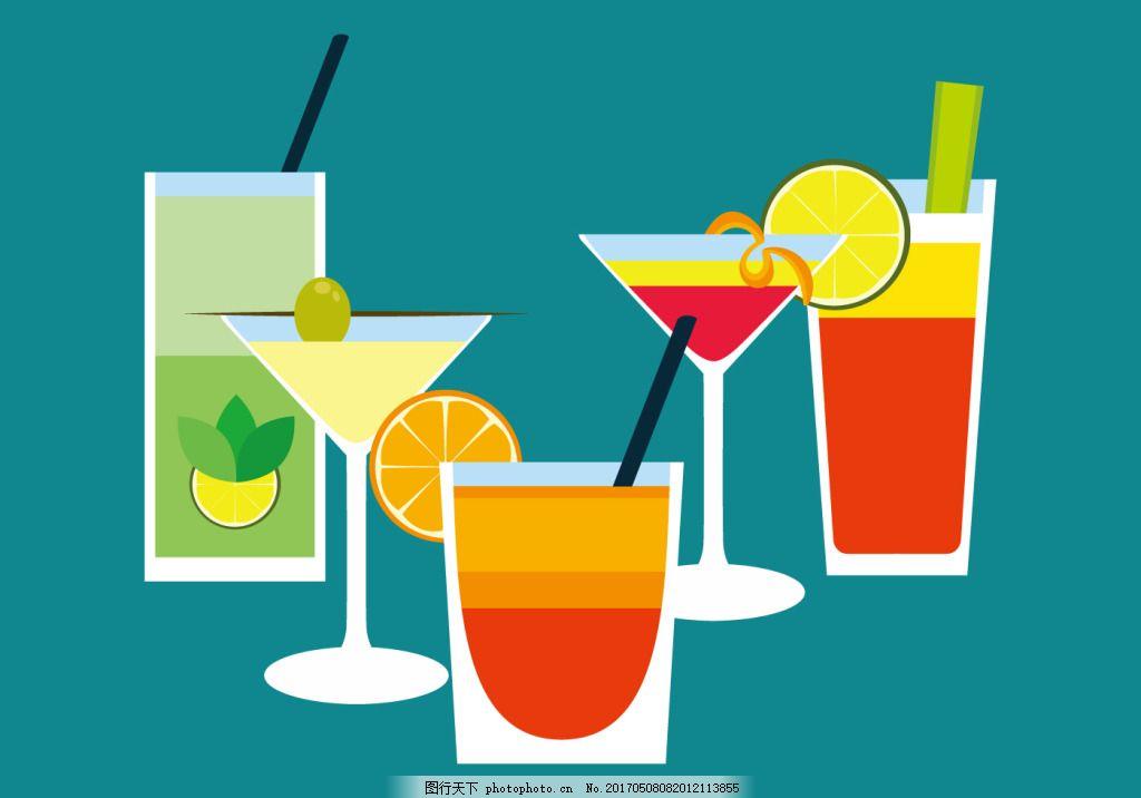 扁平化果汁饮料素材 手绘果汁 手绘饮料 夏季 夏天 矢量素材