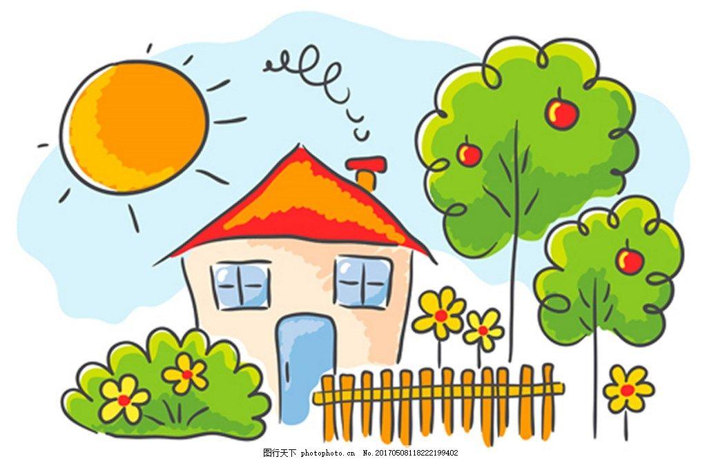 背景素材      设计 背景 eps 素材免费下载 房子 风景画 手画 矢量