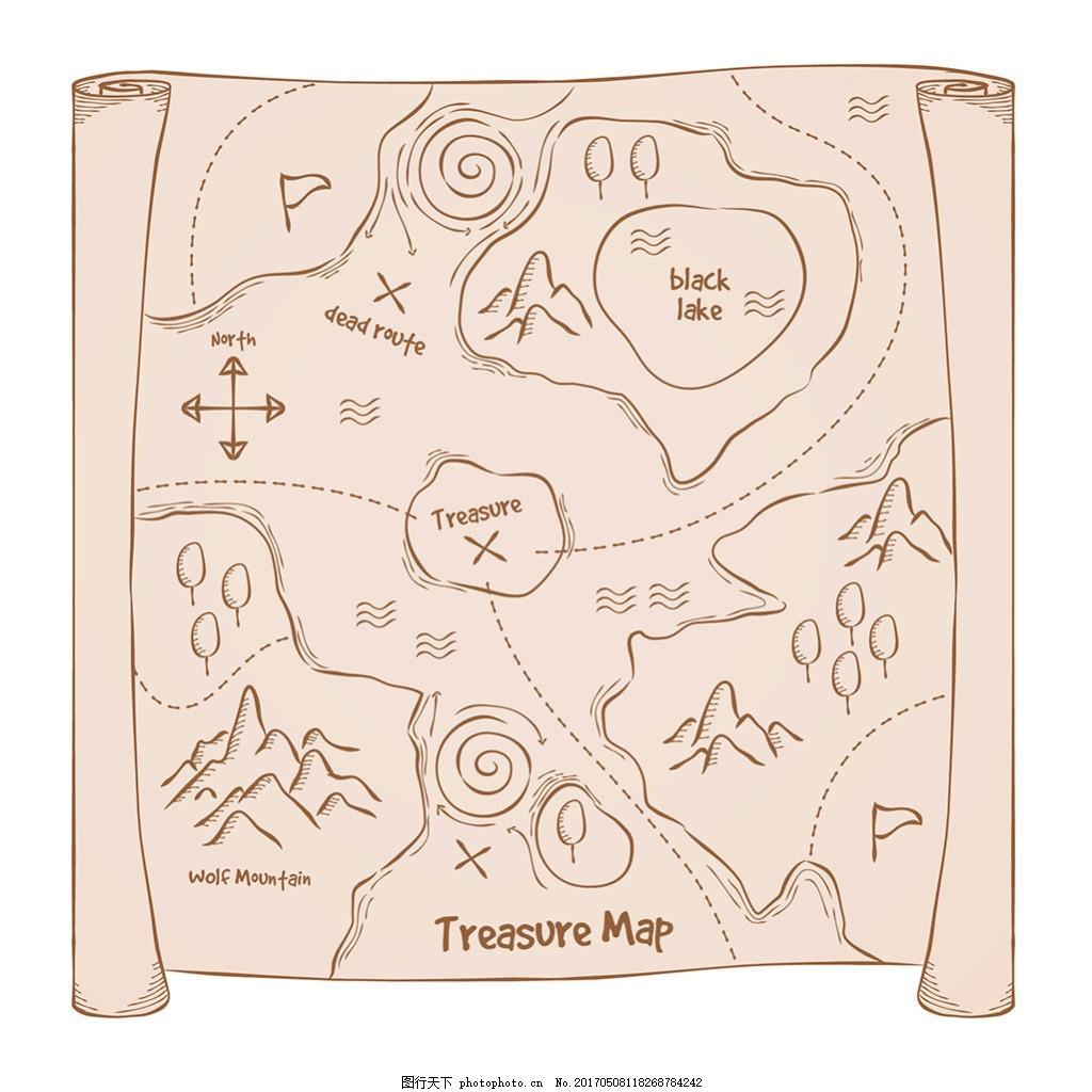 手绘素描风格海盗格宝藏地图藏宝图背景 海盗宝藏地图 羊皮纸 牛皮纸