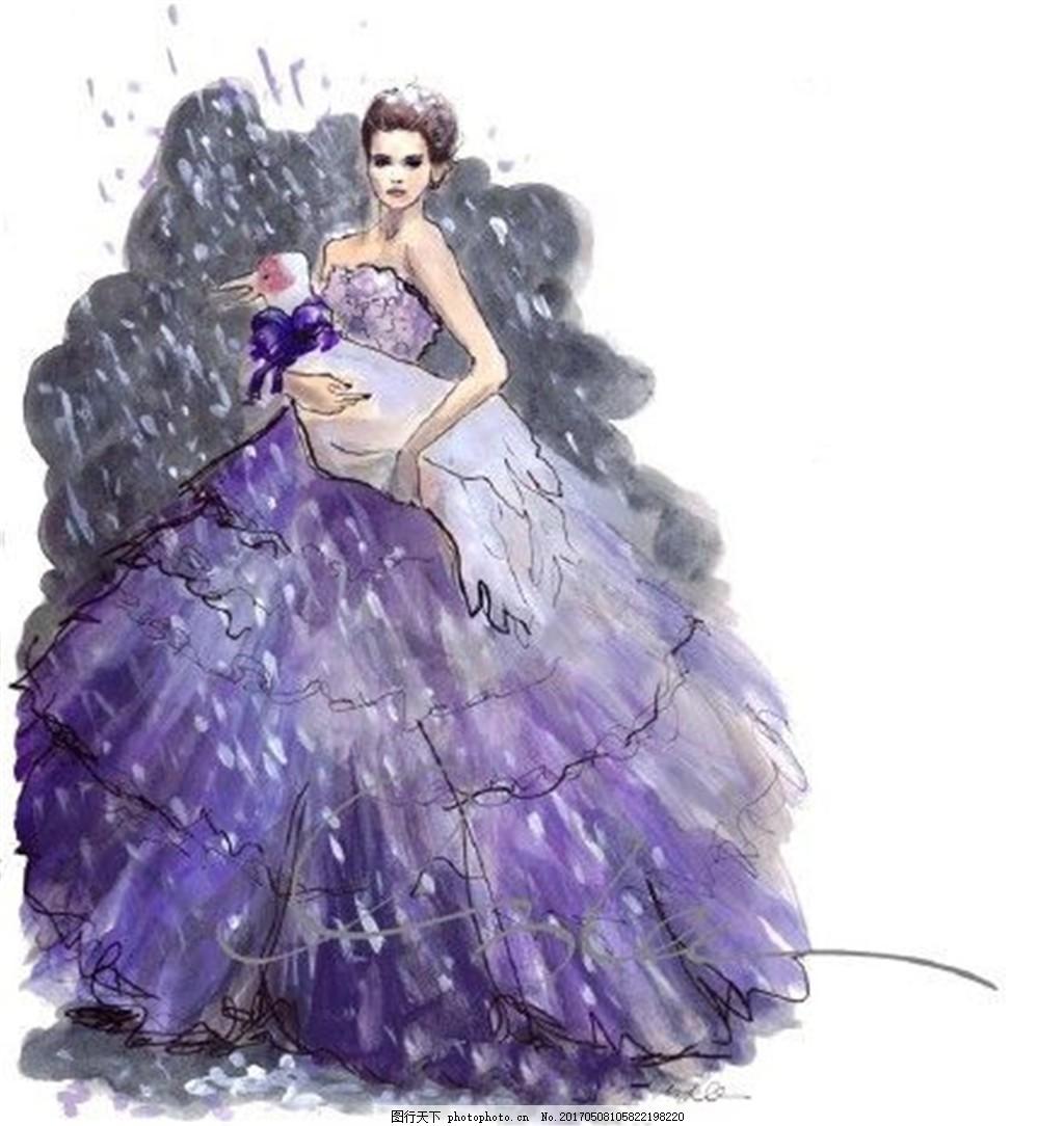 紫色抹胸礼服设计图 服装设计 时尚女装 职业女装 女装设计效果图 jpg