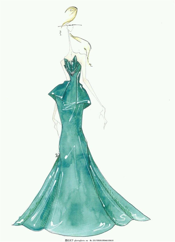 绿色长裙礼服设计图 时尚女装 职业女装 女装设计效果图 短裙 服装