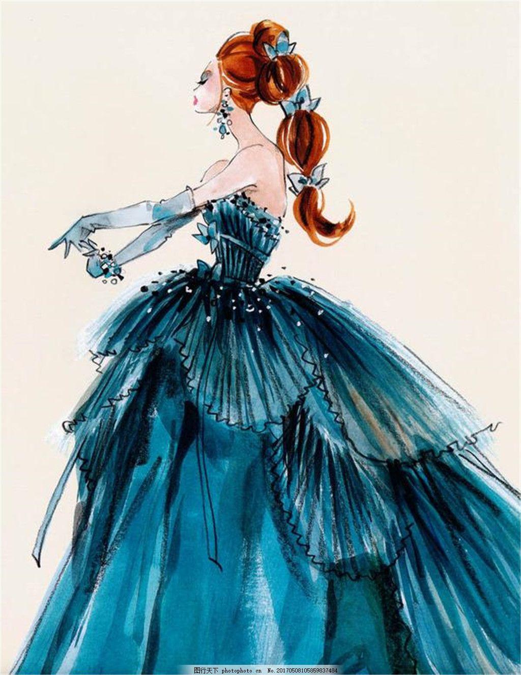 蓝色抹胸礼服设计图 时尚女装 职业女装 女装设计效果图 短裙 服装
