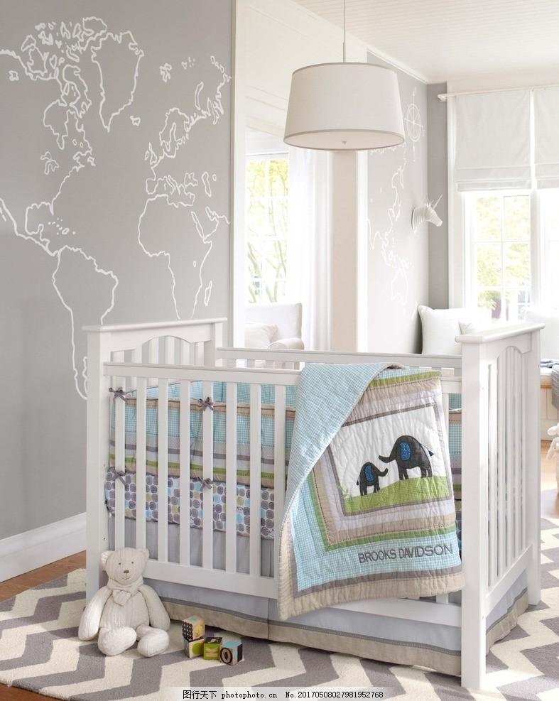 柔软 温柔 宝宝床 儿童房 婴儿床 可爱 大象 玩具熊 墙纸 室内设计