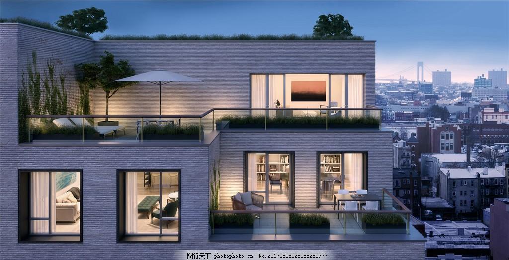 现代中式别墅效果图 建筑 城堡 欧式建筑 建筑效果图 现代建筑