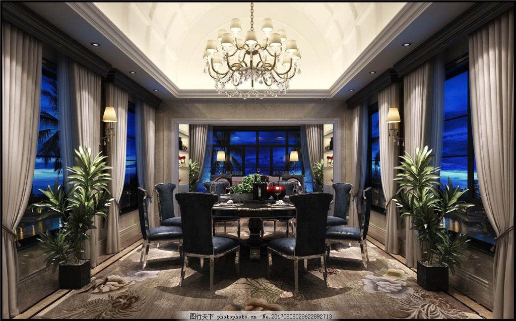 欧式豪华餐厅吊顶背景墙设计图