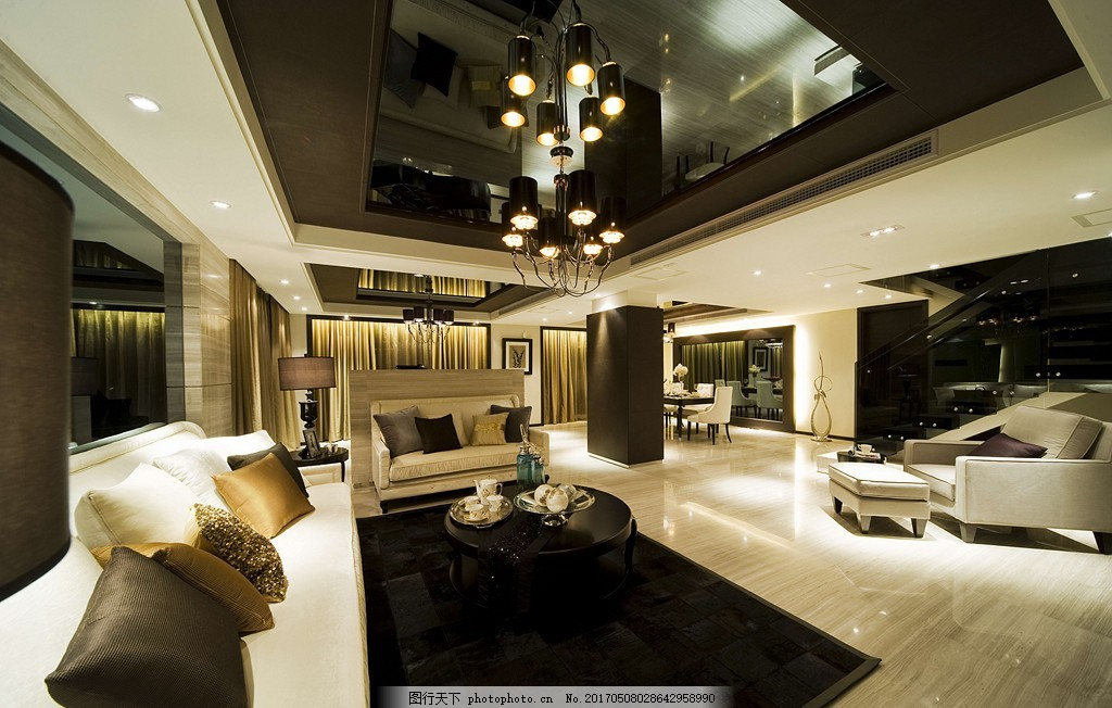 現代港式別墅客廳裝修效果圖 室內設計 家裝效果圖 現代裝修效果圖