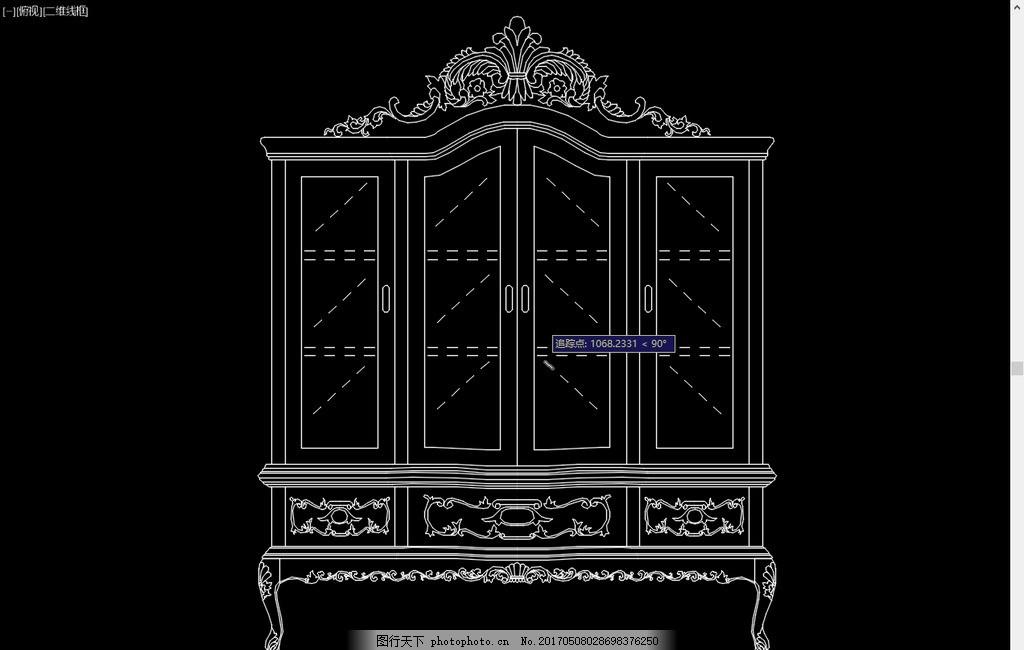 中式古典家具 欧式玻璃酒柜
