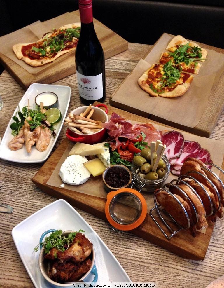 西餐,红酒 火腿 面包 薯条 披萨 食物 美食 摄影-图行