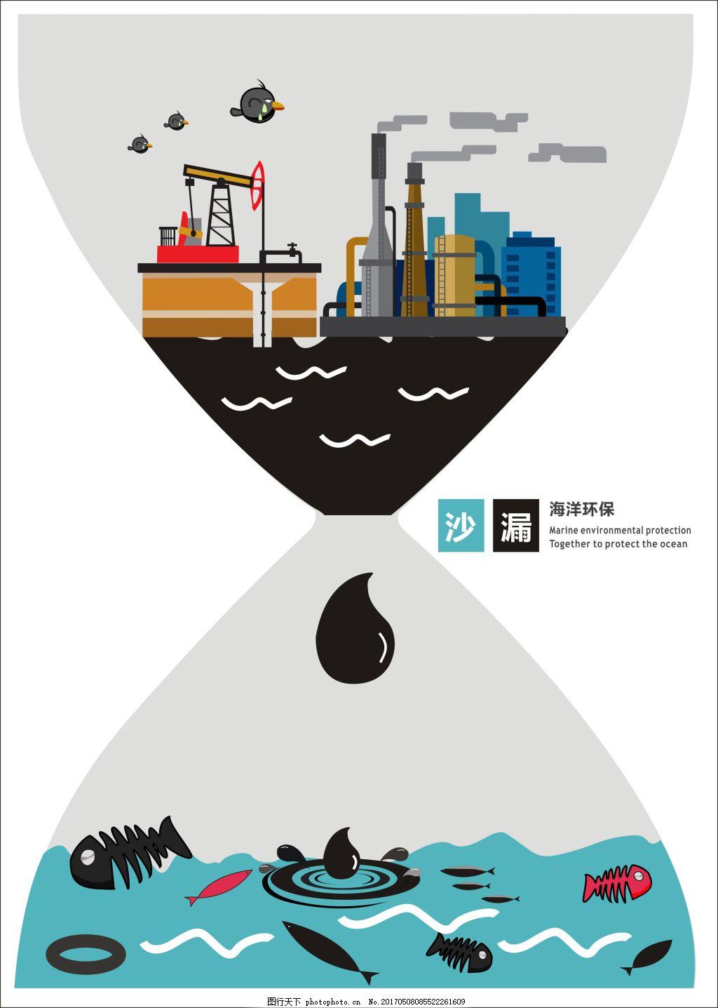海洋污染环保创意沙漏 海洋环保宣传海报 海洋污染创意 海洋保护创意