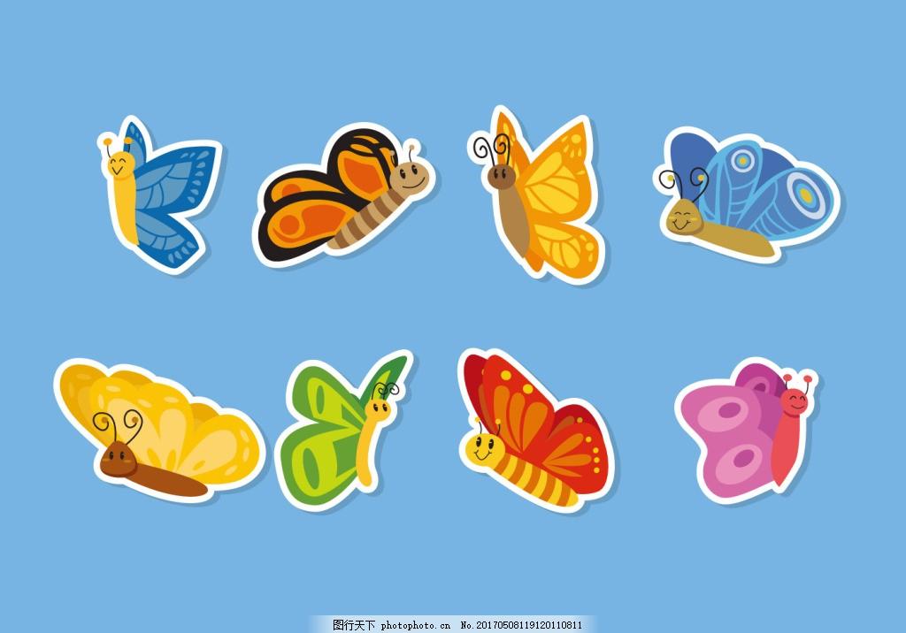 扁平化手绘可爱蝴蝶图案