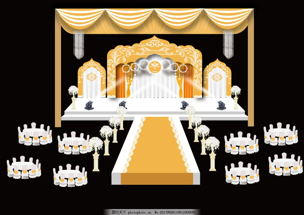 主题婚礼 橙色 婚礼舞台效果图 偏欧式风格 心想事橙