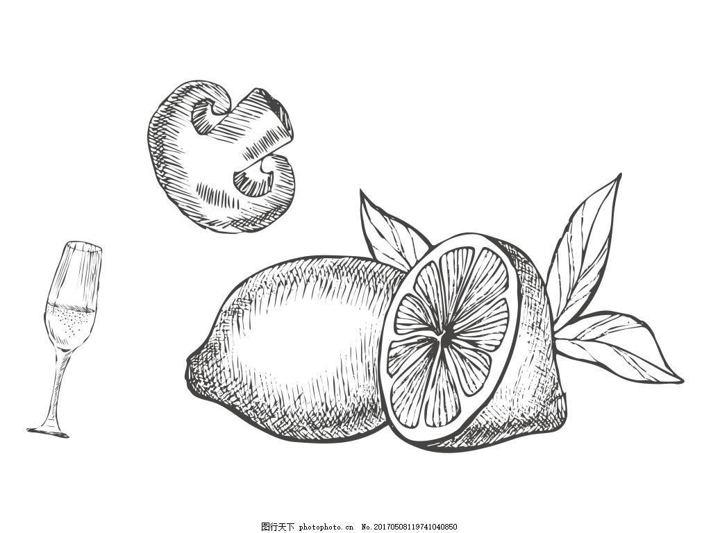 卡通矢量手绘线稿美食水果商业钢笔设计元素
