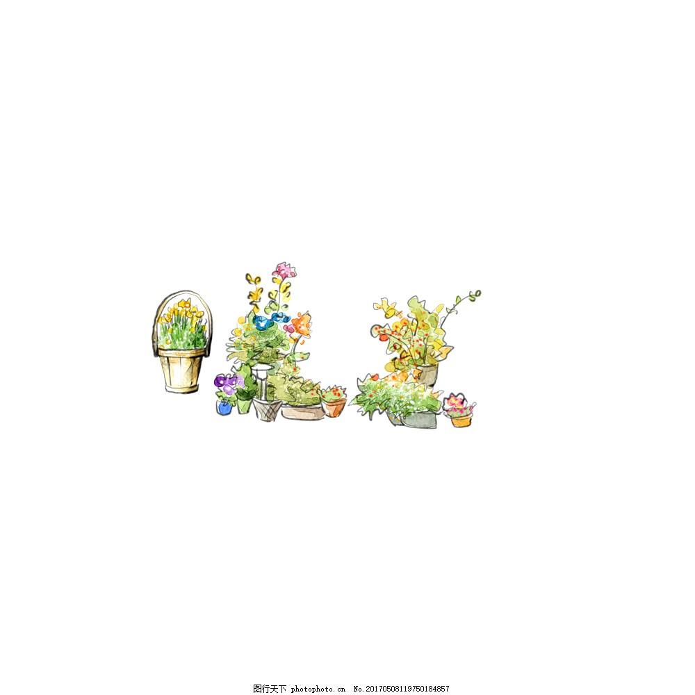 卡通手绘盆栽植物