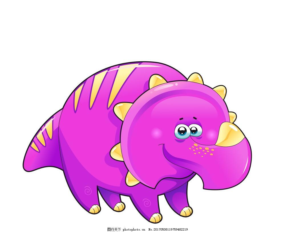 卡通粉色犀牛eps 卡通动物矢量素材图片下载 矢量动物 可爱动物