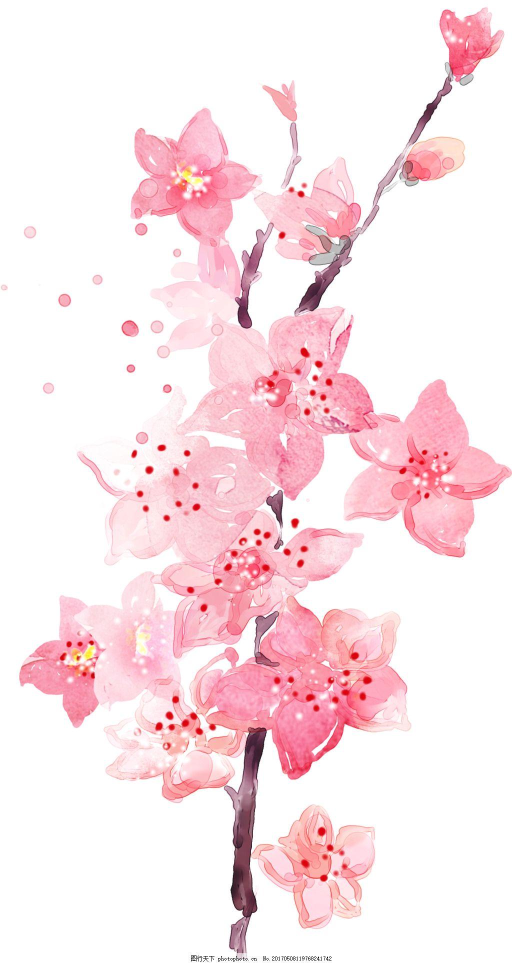 手绘水印桃花化妆品海报
