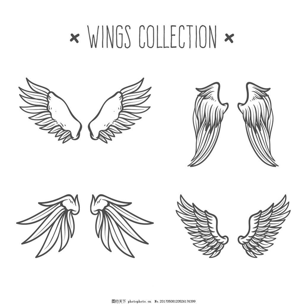 手绘风格双翼翅膀矢量素材 矢量翅膀 双翼羽毛 装饰图案 金色翅膀