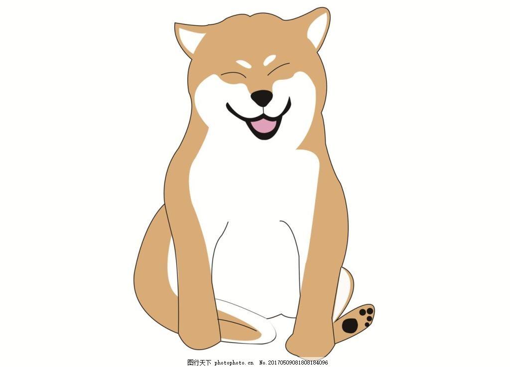 狗狗柴犬插画矢量图 动物 平面 创意 笑脸 表情