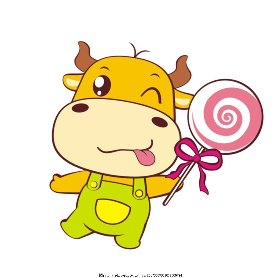 馋嘴小牛 卡通 cdr矢量图 卡通动物 牛 馋嘴 拿棒棒糖