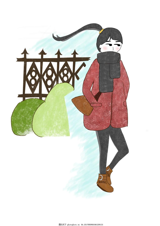 人物时装插画 手绘少女 女孩 彩铅风格