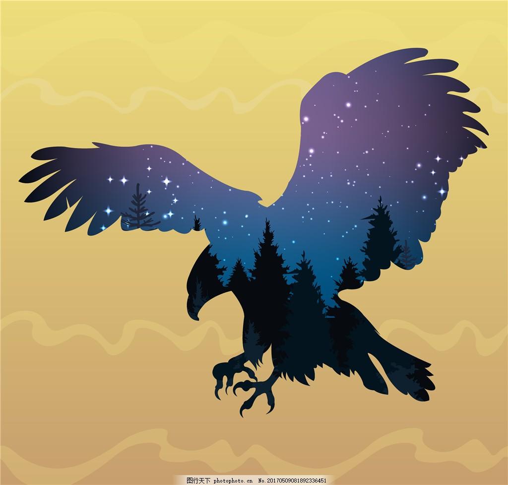 矢量鹰剪影插画 鹰插画 手绘插画 手绘鹰 矢量素材 卡通鹰 星空