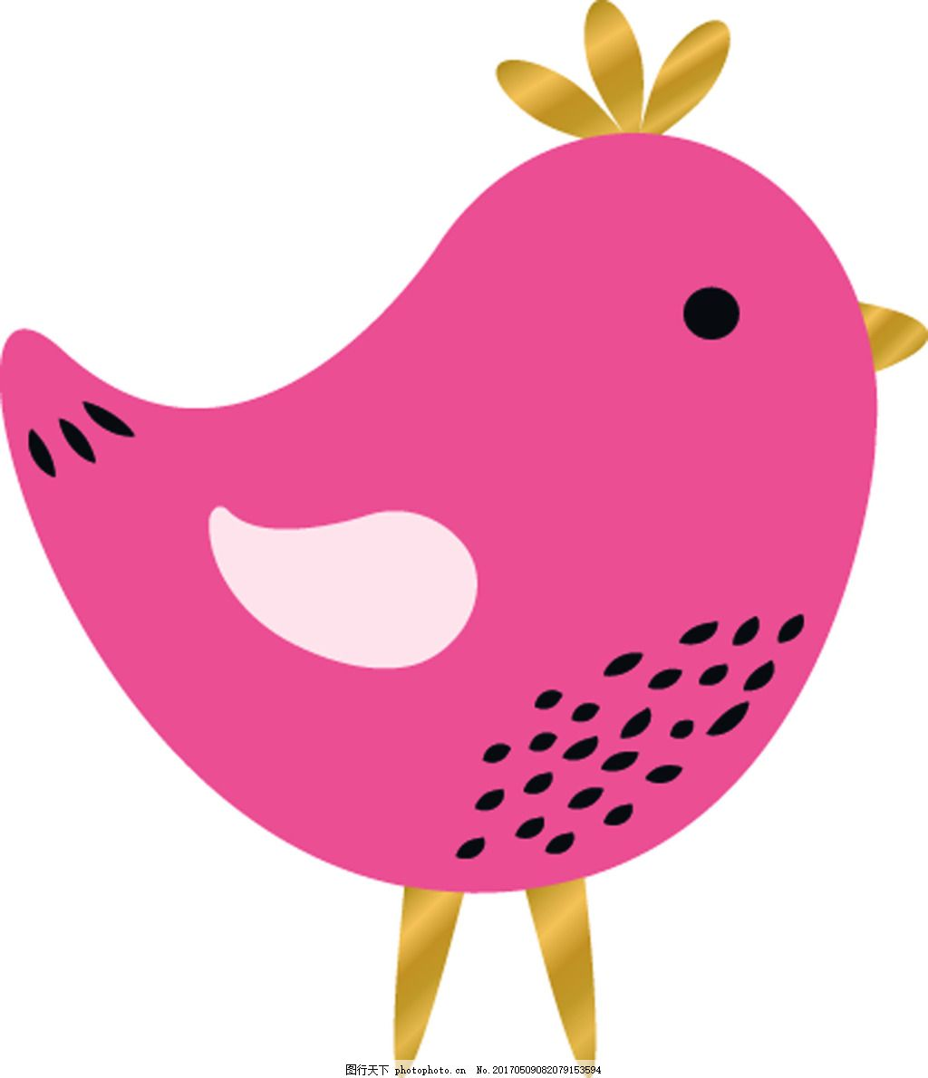 粉色小鸟卡通矢量动物信封可爱爱情素材