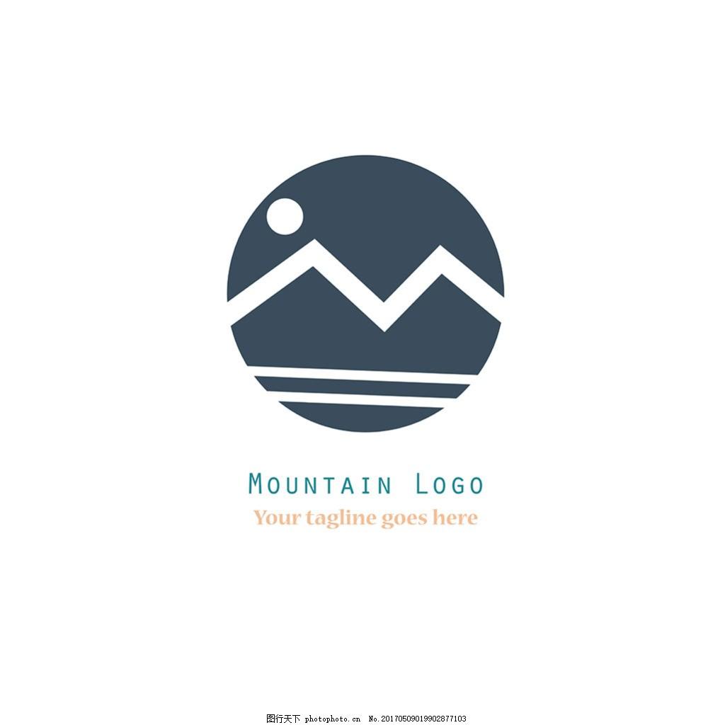抽象山水标志logo