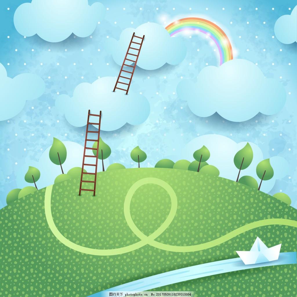 卡通剪纸风格可爱房屋彩虹飞机风景矢量素材