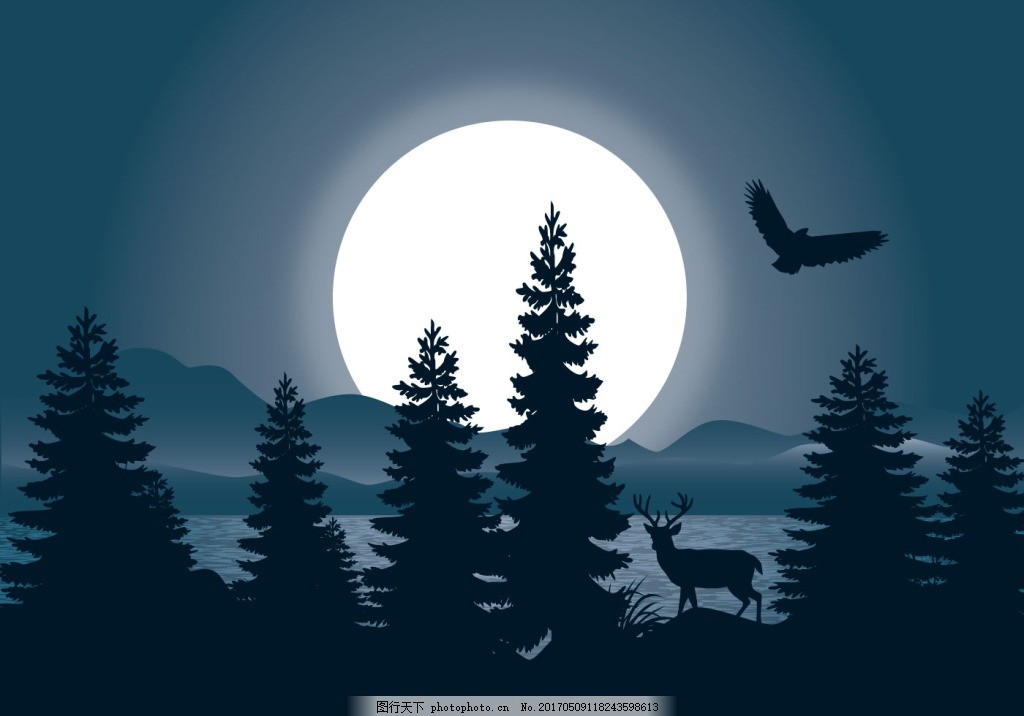 夜晚森林景观插画 景观插画 夜晚 森林 森林景观 森林插画 动物 月亮