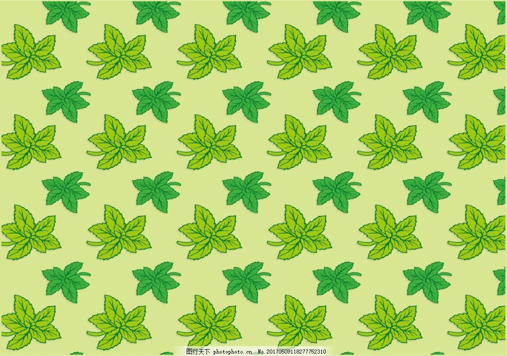 绿色清新手绘树叶背景素材