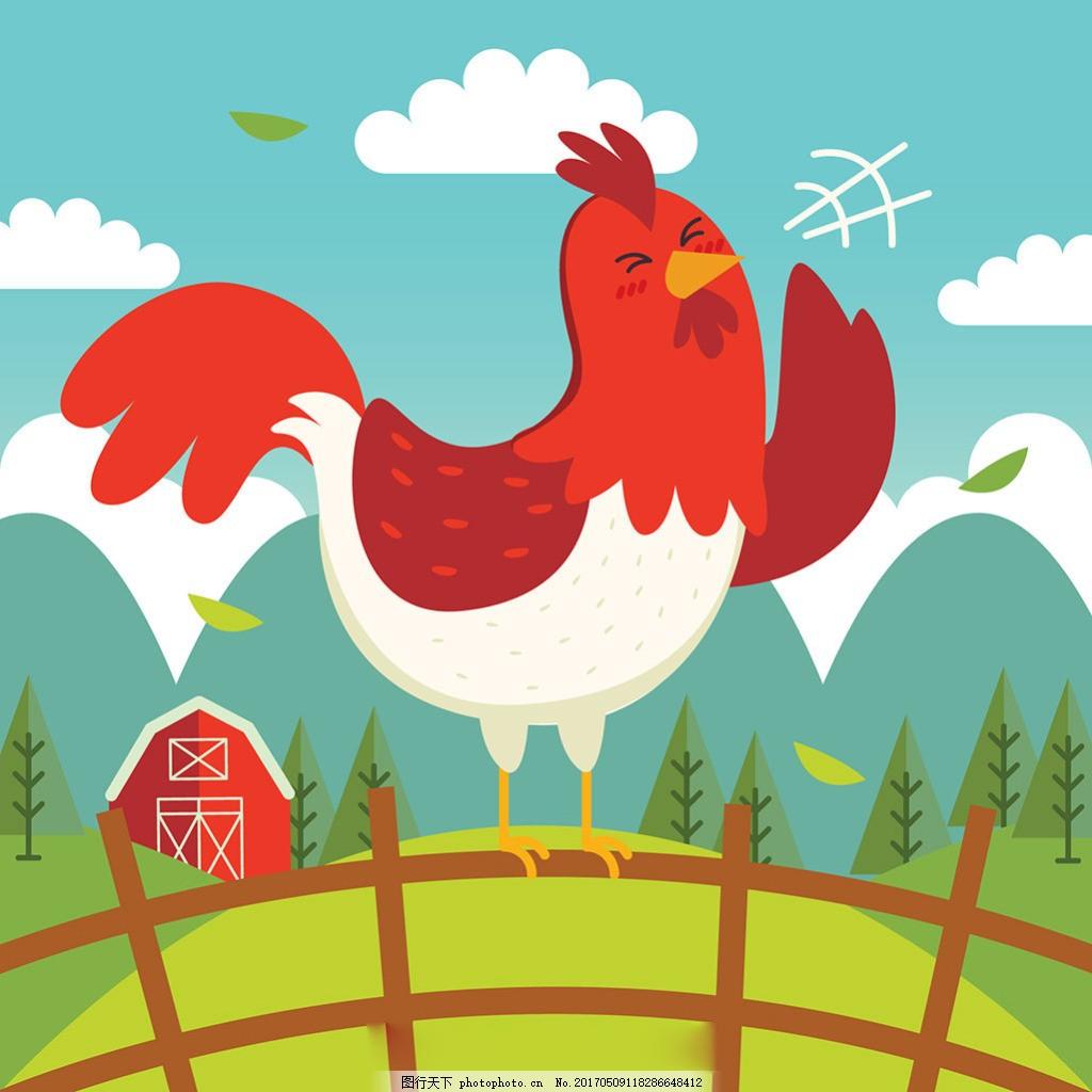 手绘公鸡打鸣蓝天白云绿色风景背景,扁平风格 卡通-图
