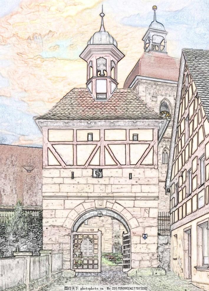 线描建筑图片