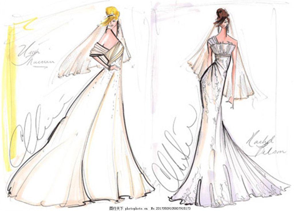 2款婚纱长裙设计图