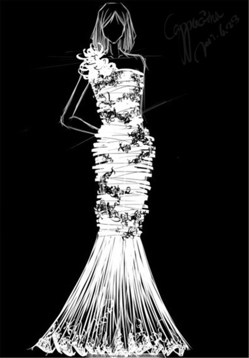 设计图库 现代科技 服装设计  白色长裙礼服设计剪影 服装设计 时尚