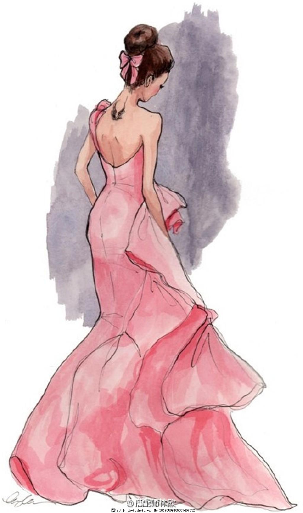 粉色露背礼服设计图 时尚女装 职业女装 女装设计效果图 短裙 服装