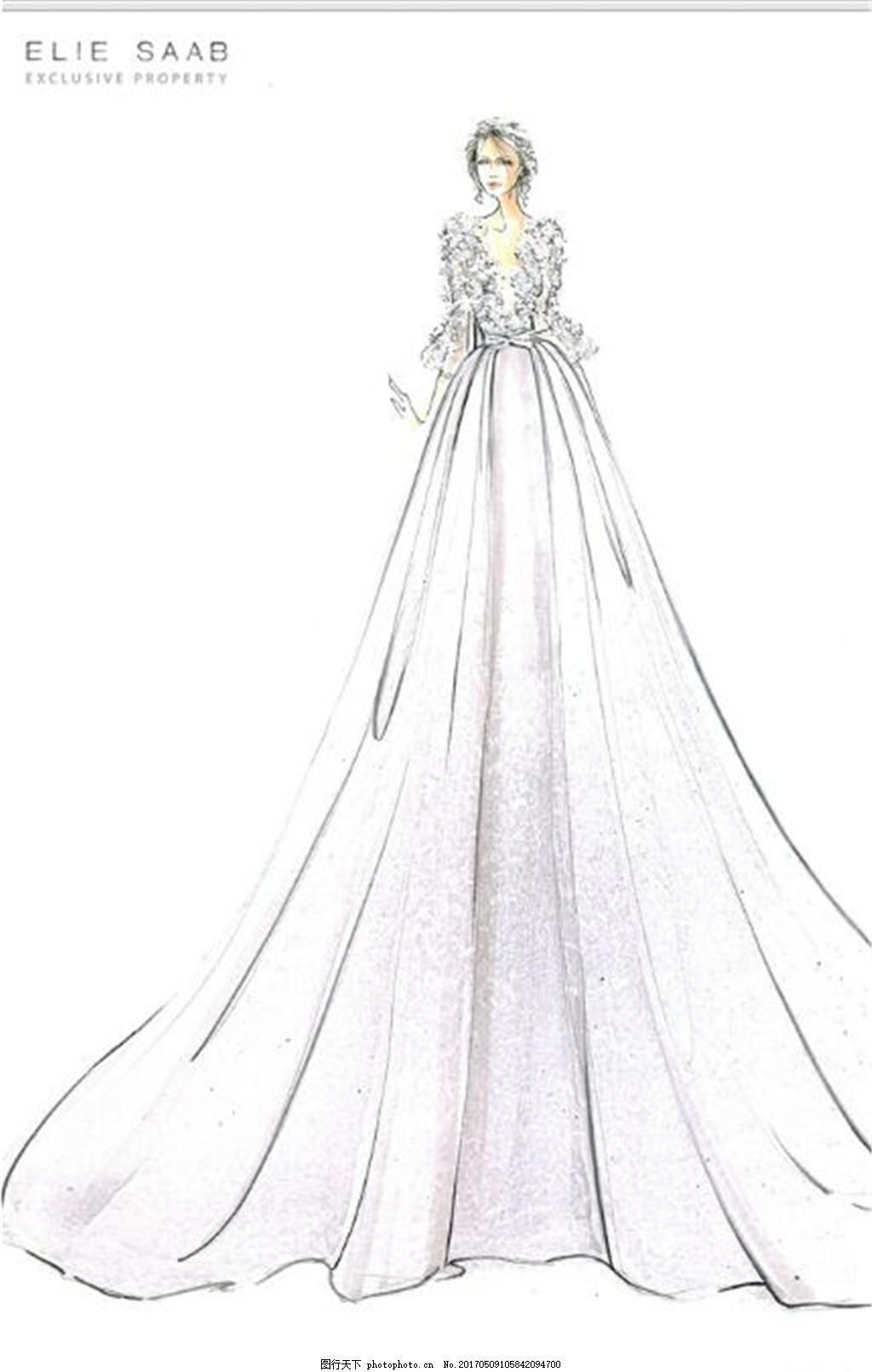 时尚手绘婚纱长裙设计图