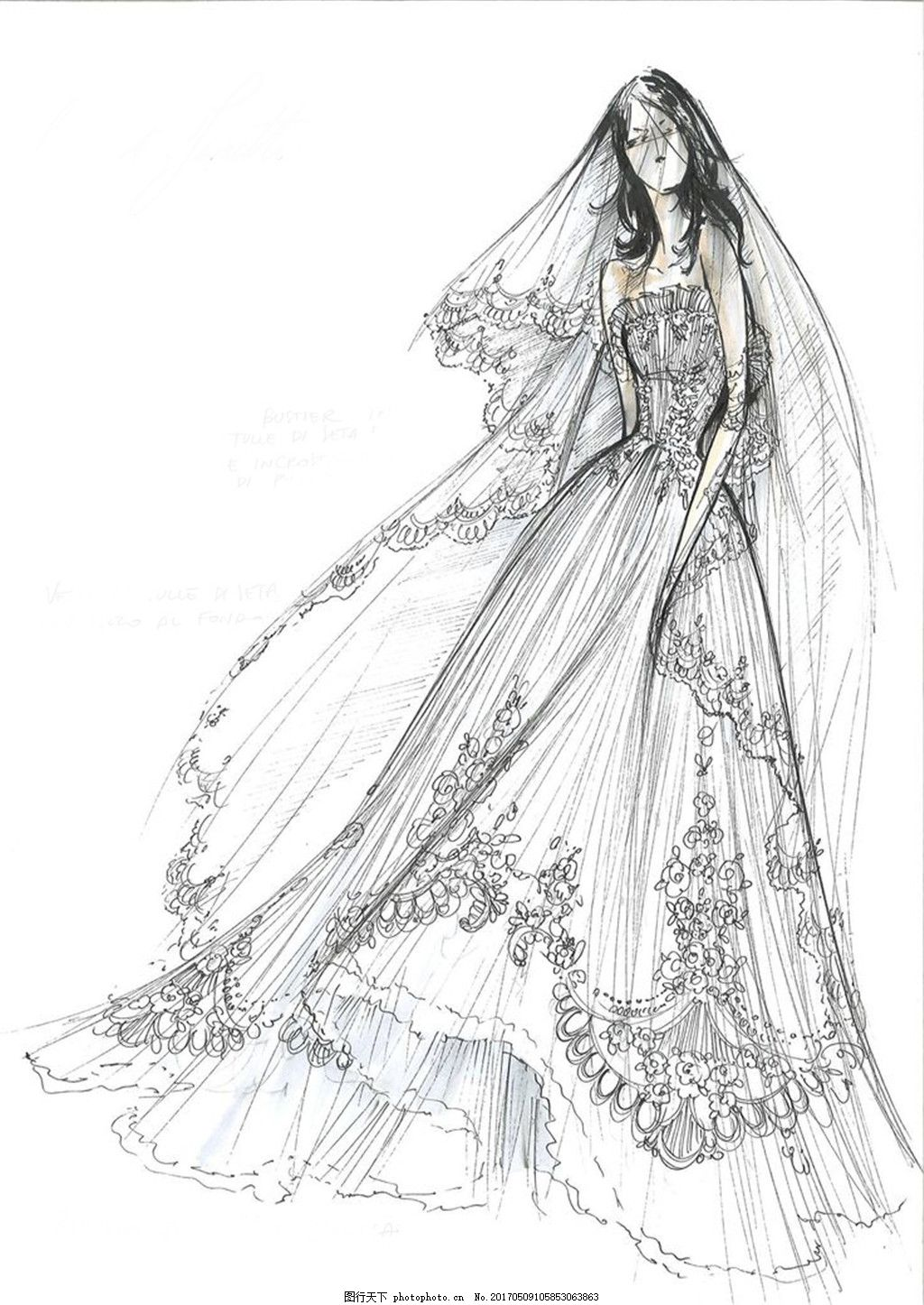 花边婚纱设计图 时尚女装 职业女装 女装设计效果图 短裙 服装图片