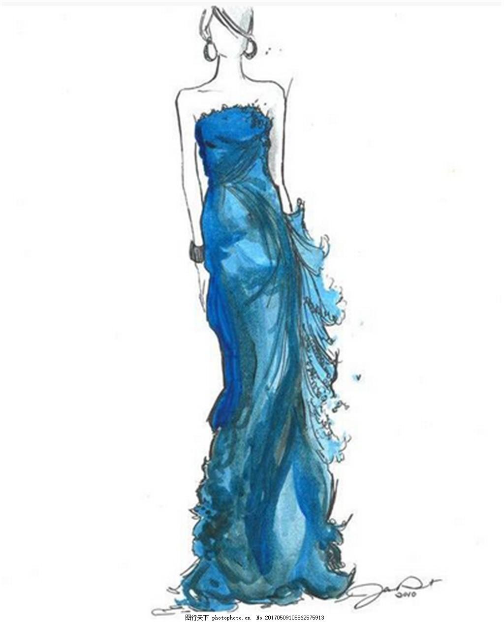设计图库 现代科技 服装设计  蓝色抹胸礼服设计图 服装设计 时尚女装