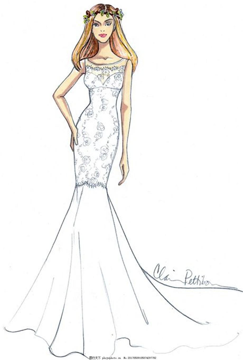 手绘修身婚纱长裙设计图